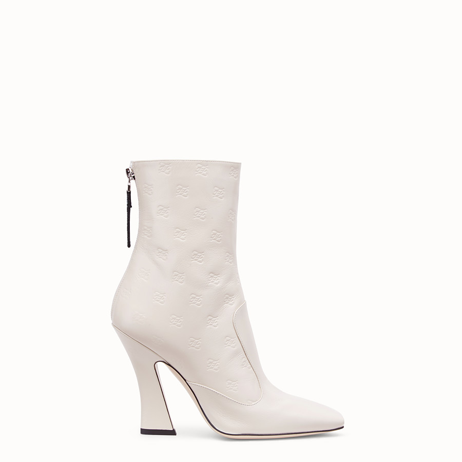 FENDI BOOTS - White leather booties - view 1 detail