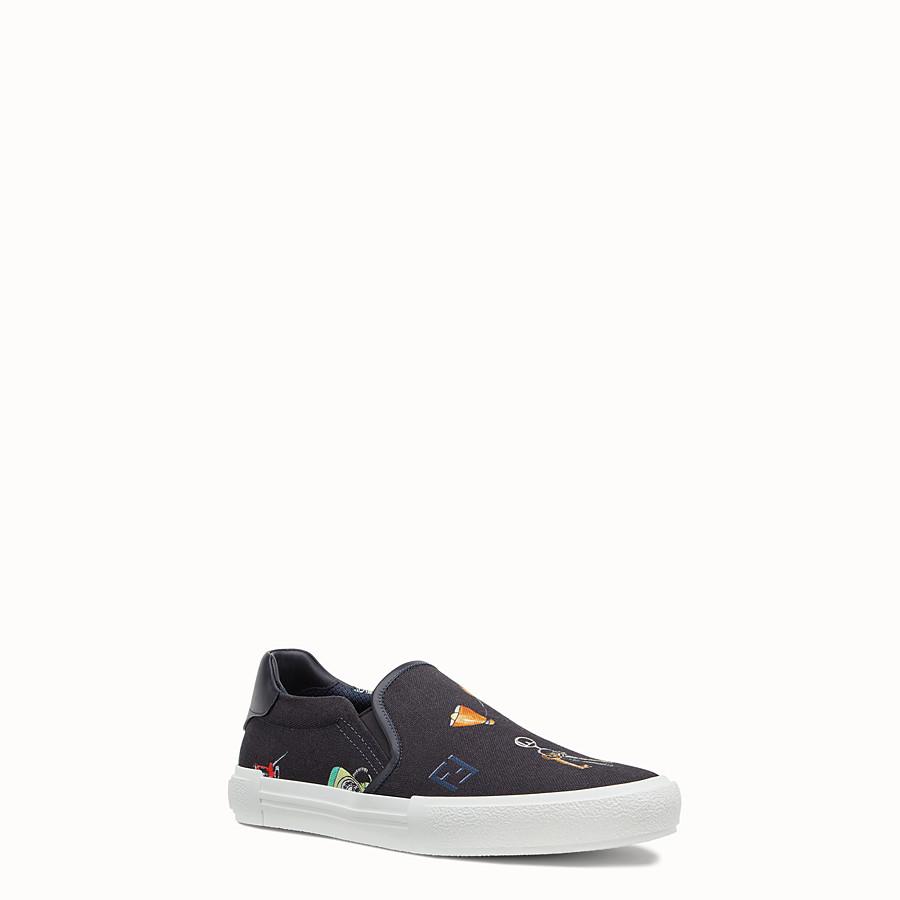 FENDI SNEAKERS - Chaussures sans lacets en toile bleue - view 2 detail