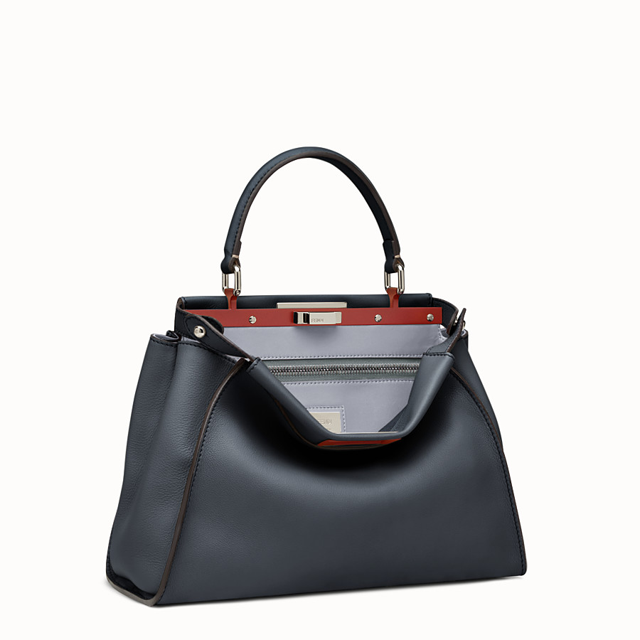 FENDI PEEKABOO REGULAR - Midnight-blue leather handbag - view 2 detail