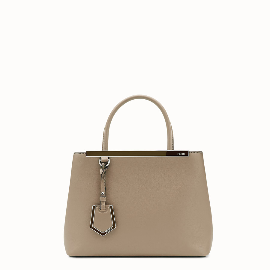 FENDI PETITE 2JOURS - Dove-grey leather shopper bag - view 1 detail