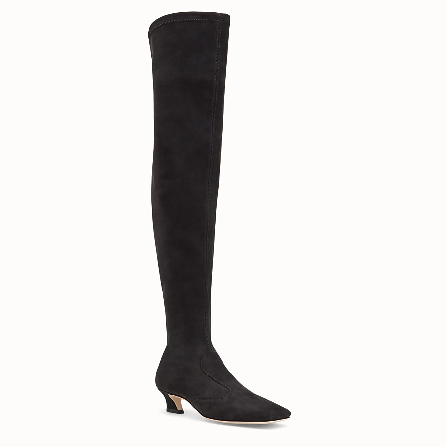 FENDI BOOTS - Black nubuck thigh-high boots - view 2 detail