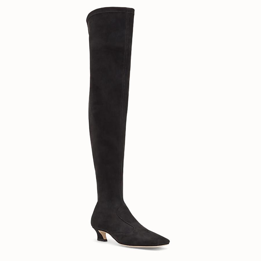 FENDI BOOTS - Black nubuck thigh-high boots - view 2 detail