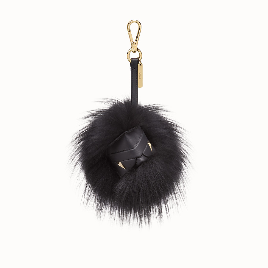 FENDI BAG BUGS CUBE CHARM - Black fox fur charm - view 1 detail