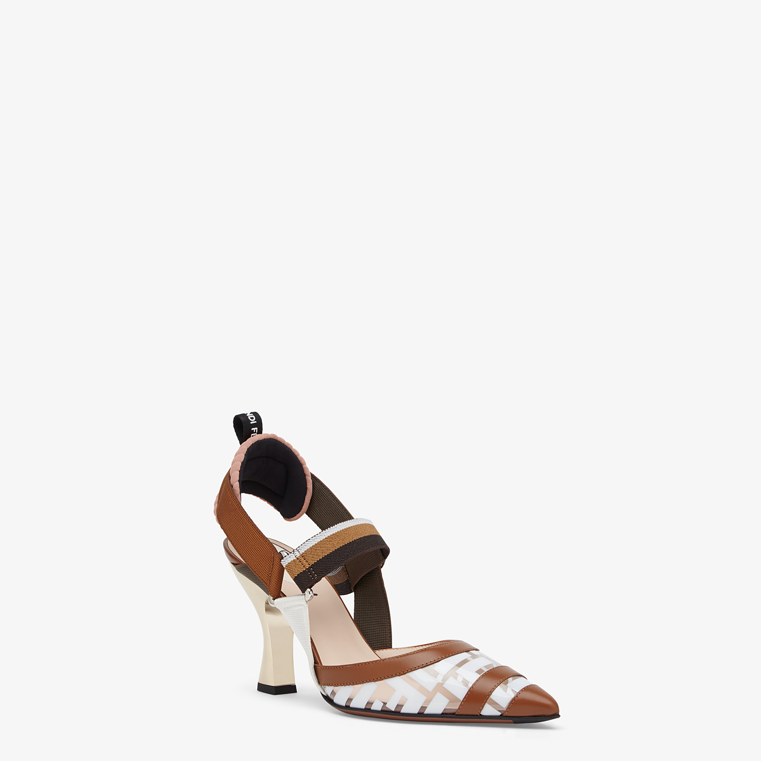 FENDI SLINGBACK - White leather and PU Colibrì - view 2 detail