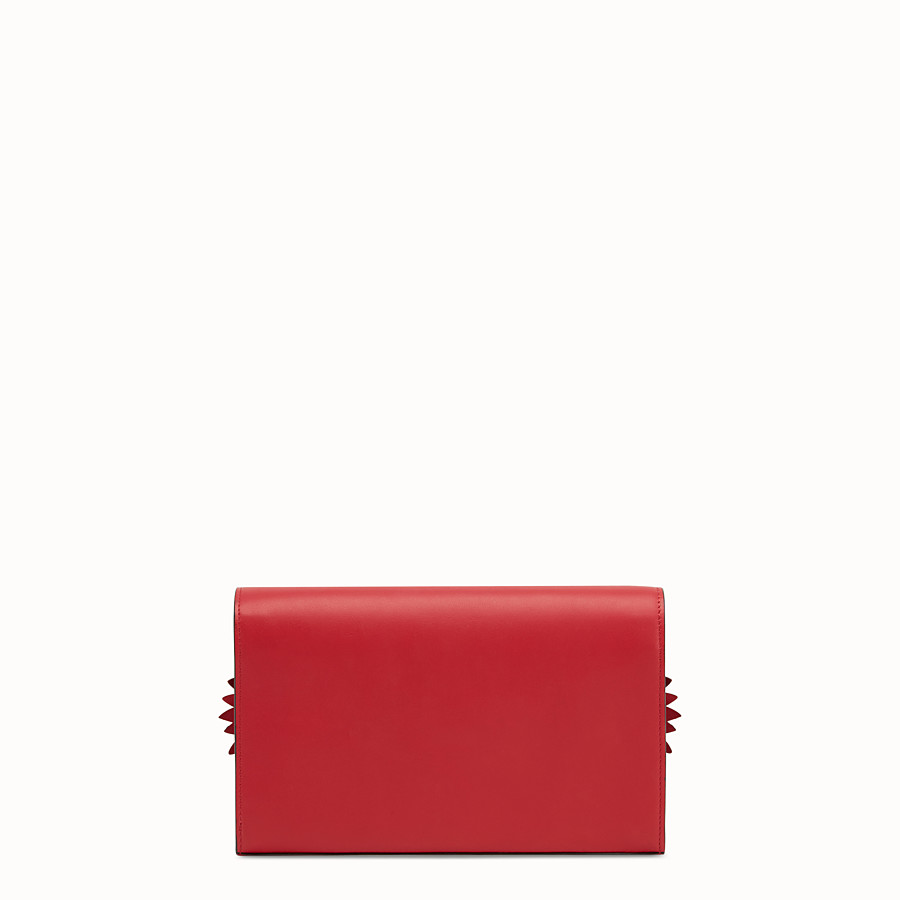 FENDI WALLET ON CHAIN WITH LOGO - Exotic red leather mini-bag - view 3 detail
