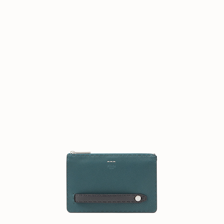 FENDI CLUTCH - Green leather Selleria pouch - view 1 detail