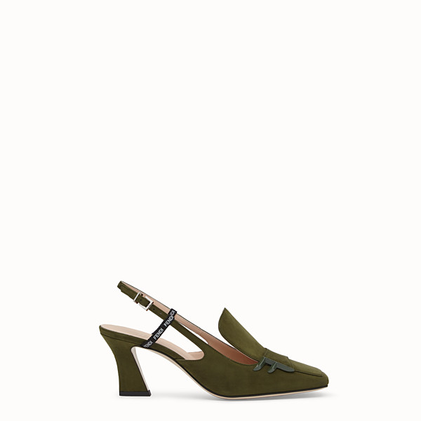 FENDI PUMPS - Green nubuck slingbacks - view 1 small thumbnail