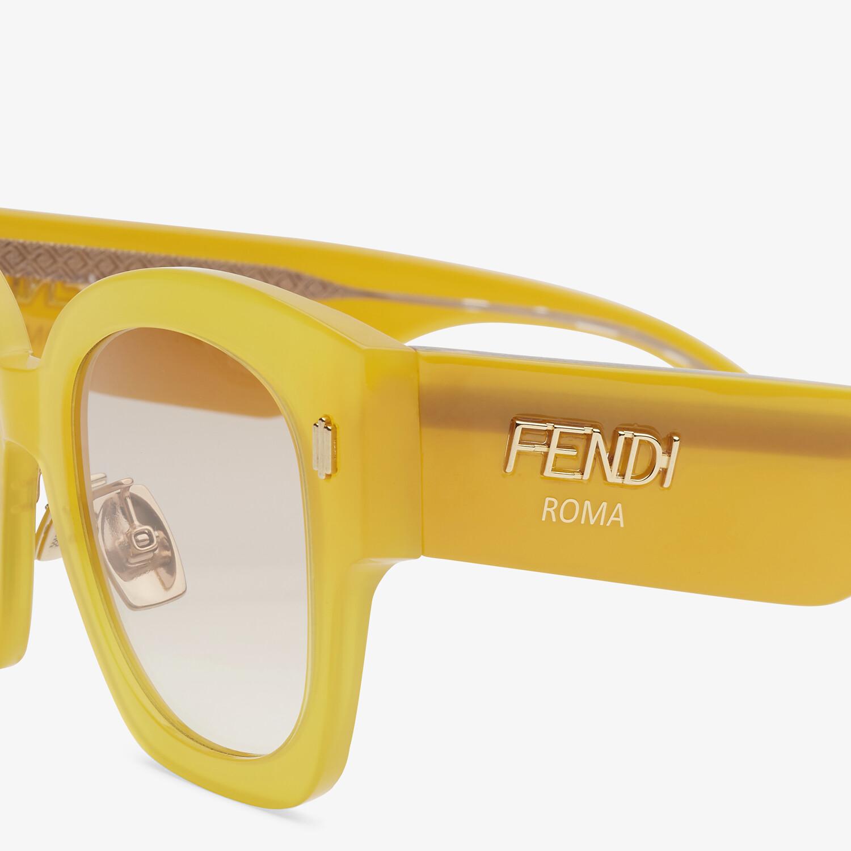 FENDI FENDI ROMA - イエローアセテート サングラス - view 3 detail