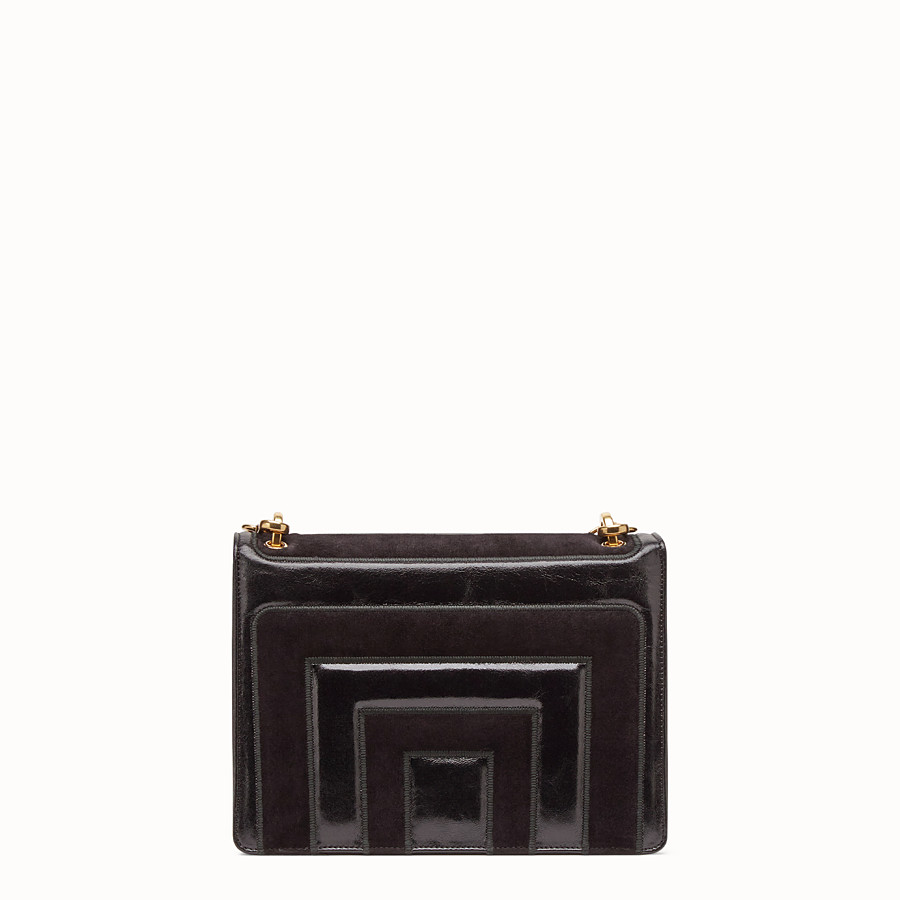 FENDI KAN U - Black leather and suede bag - view 4 detail