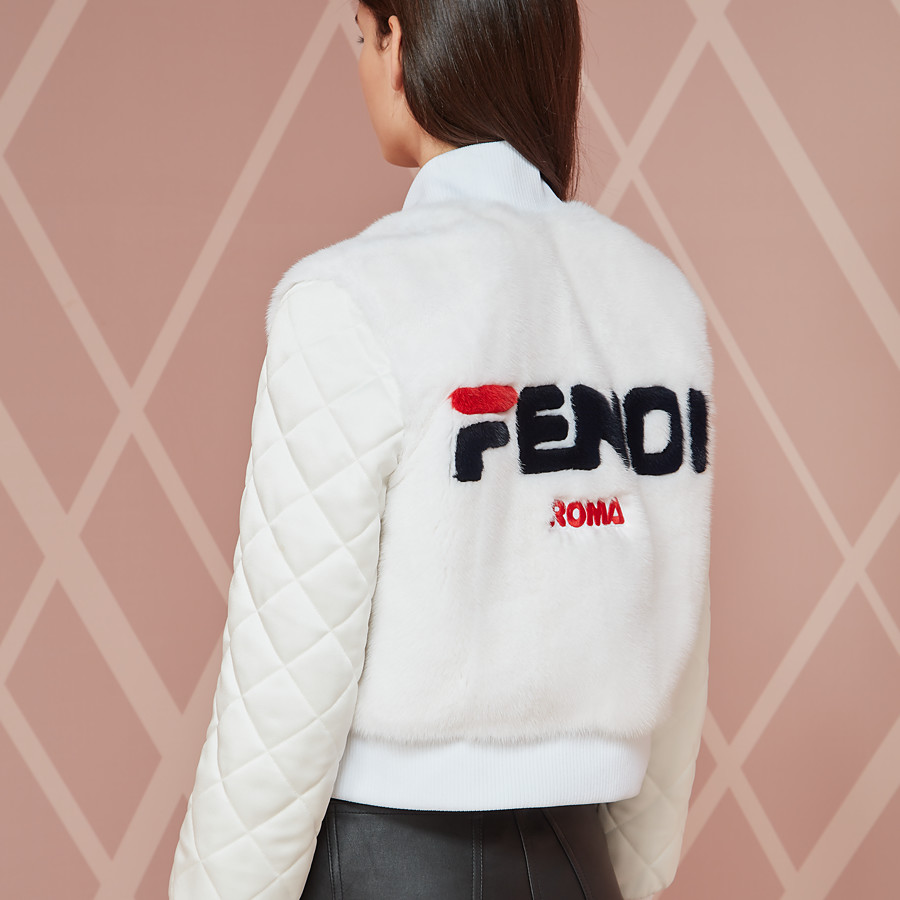 FENDI BOMBER - White fabric and fur bomber jacket - view 5 detail