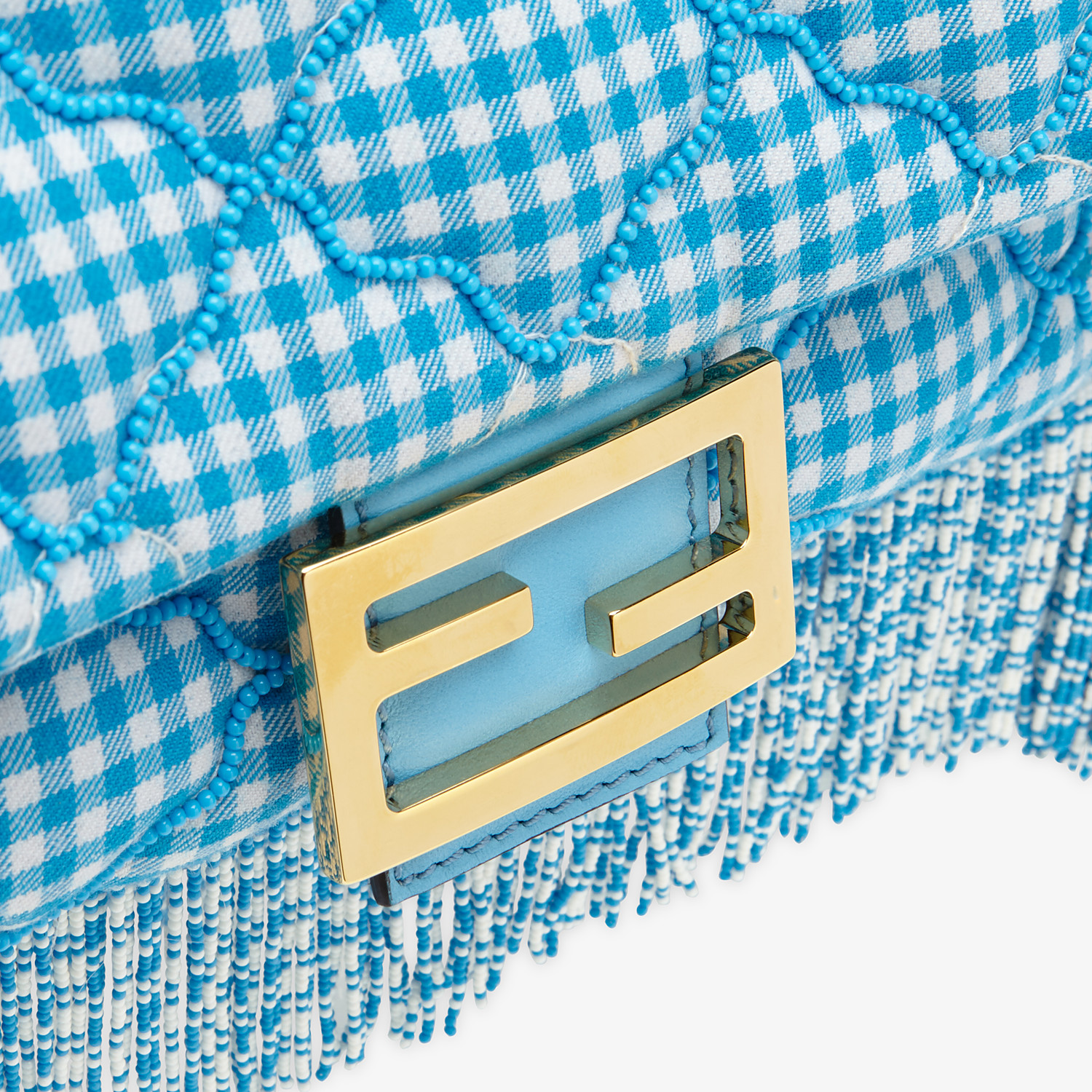 FENDI BAGUETTE - Check fabric bag with beads - view 5 detail