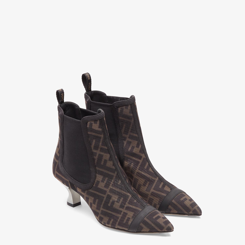 FENDI COLIBRÌ - Black mesh medium-heel ankle boots - view 4 detail