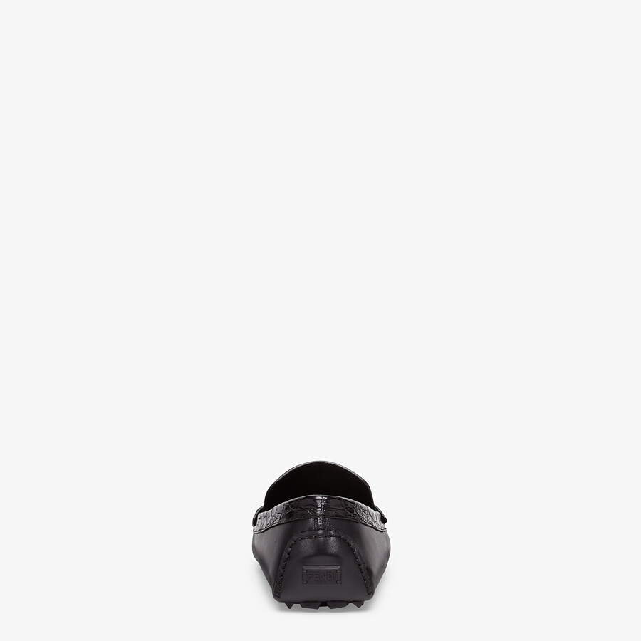 FENDI LOAFERS - Black leather and caiman drivers. - view 3 detail
