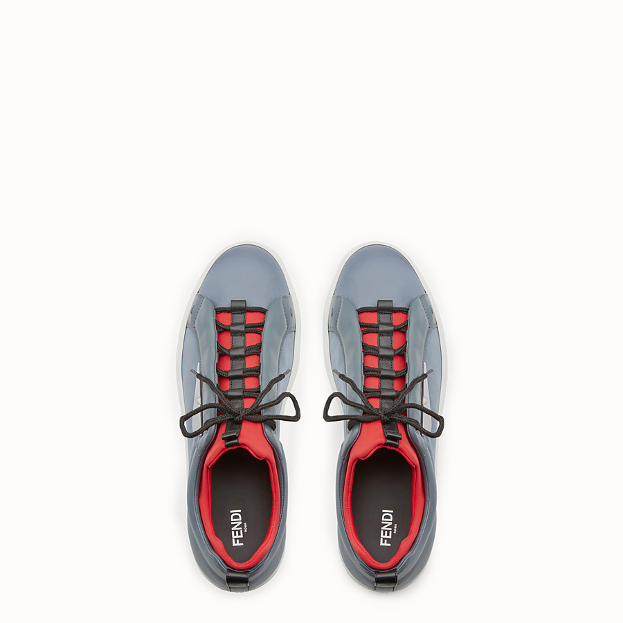 FENDI SNEAKER - Light blue leather and nylon lace-ups - view 4 detail