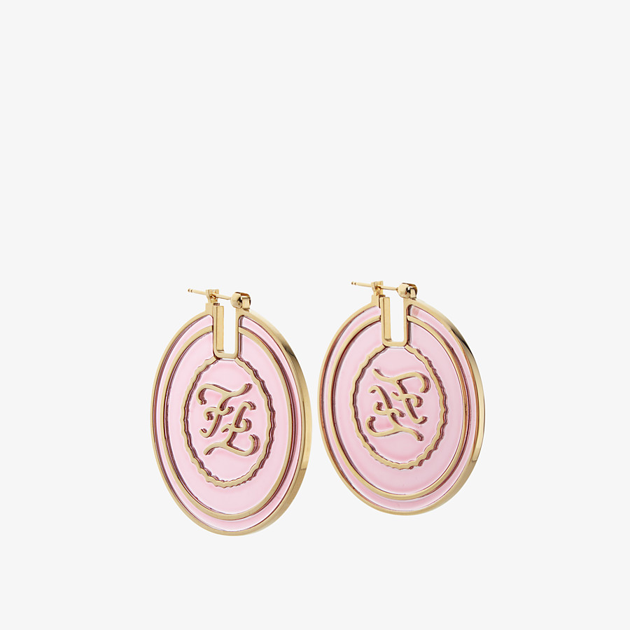 FENDI KARLIGRAPHY EARRINGS - Gold and white coloured earrings - view 1 detail