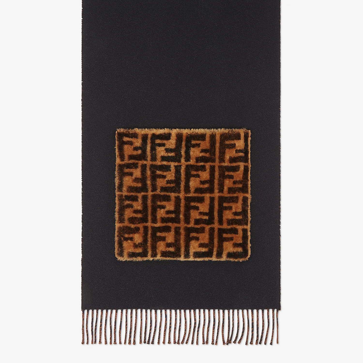 FENDI TOUCH OF FUR SCARF - Black wool and cashmere scarf - view 1 detail