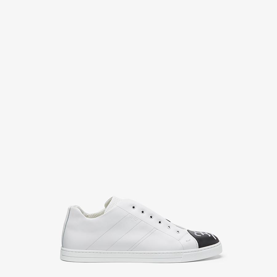 FENDI SNEAKERS - White leather slip-ons - view 2 detail