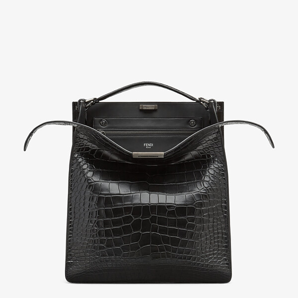 Black alligator bag