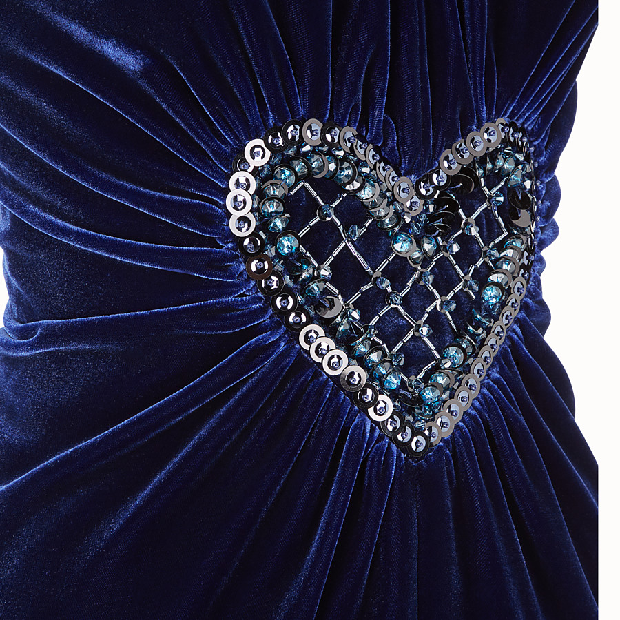 FENDI DRESS - Blue velvet dress - view 3 detail