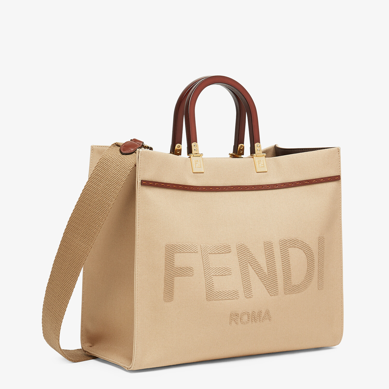 FENDI FENDI SUNSHINE MEDIUM - Beige canvas bag - view 3 detail