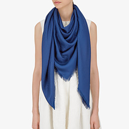 FENDI FF SHAWL - Shawl in blue wool and silk - view 3 thumbnail