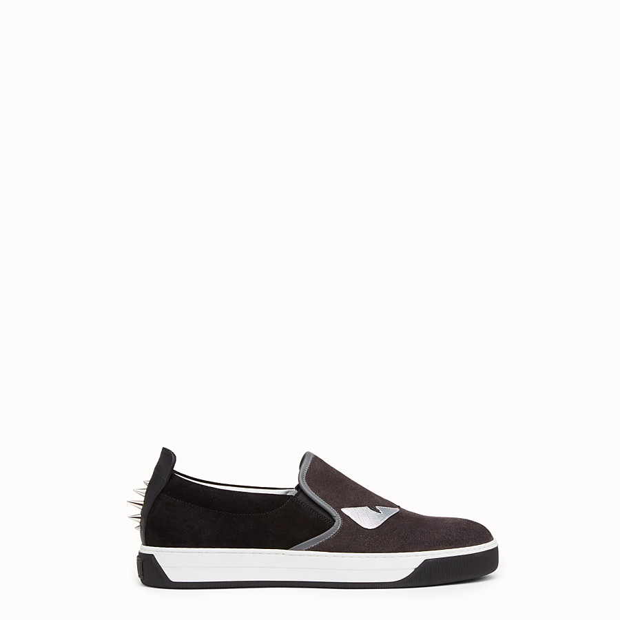 FENDI SNEAKER - black and grey suede slip-on - view 1 detail