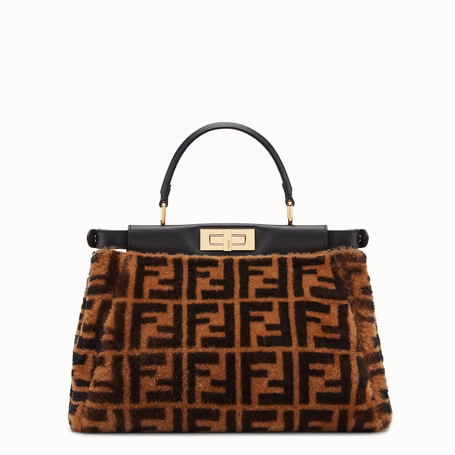 FENDI PEEKABOO ICONIC MEDIUM - Sac en peau de mouton marron - view 4 detail