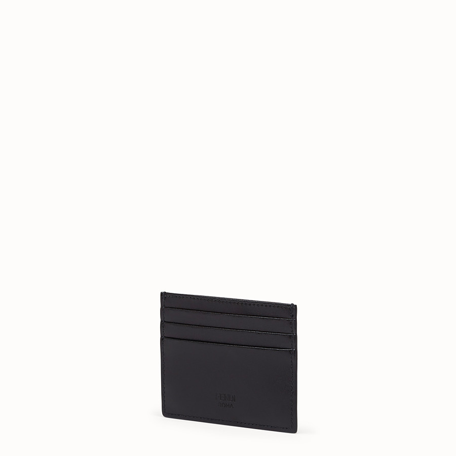 FENDI CARD HOLDER - Black leather flat card holder - view 2 detail