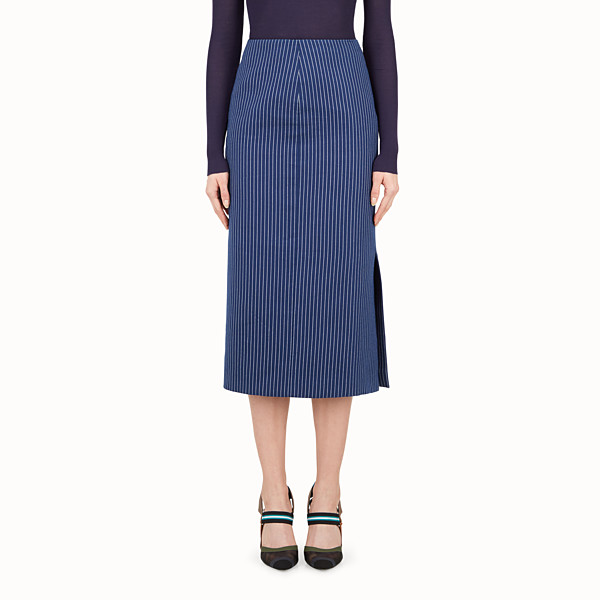 FENDI SKIRT - Blue silk and cotton skirt - view 1 small thumbnail