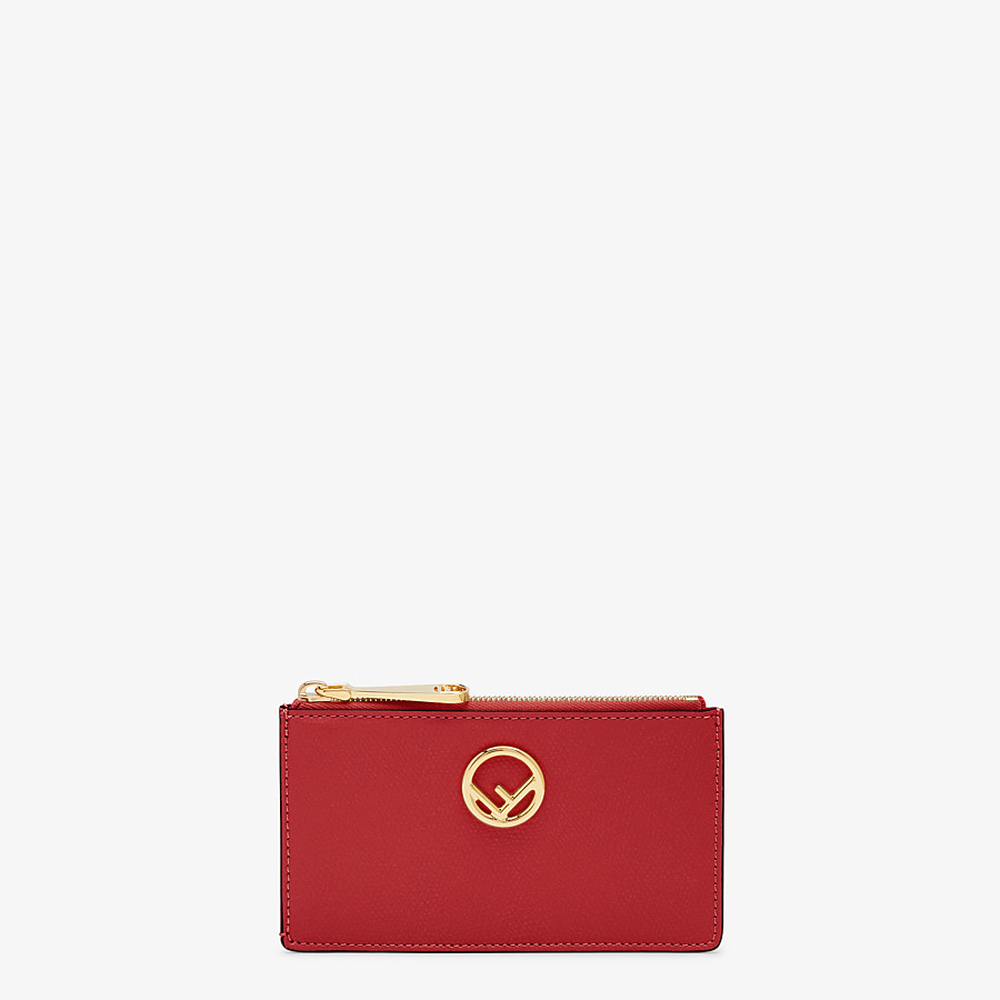 FENDI CARD POUCH - Red leather pouch - view 1 detail