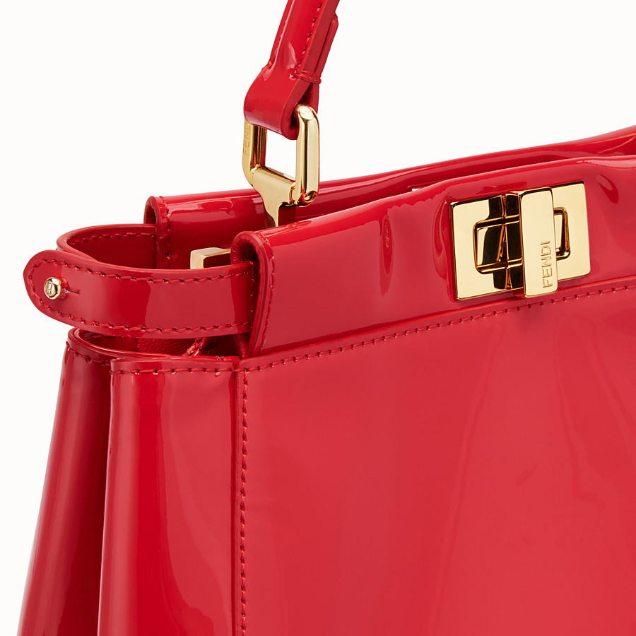 FENDI PEEKABOO ICONIC MINI - Red patent leather bag - view 6 detail