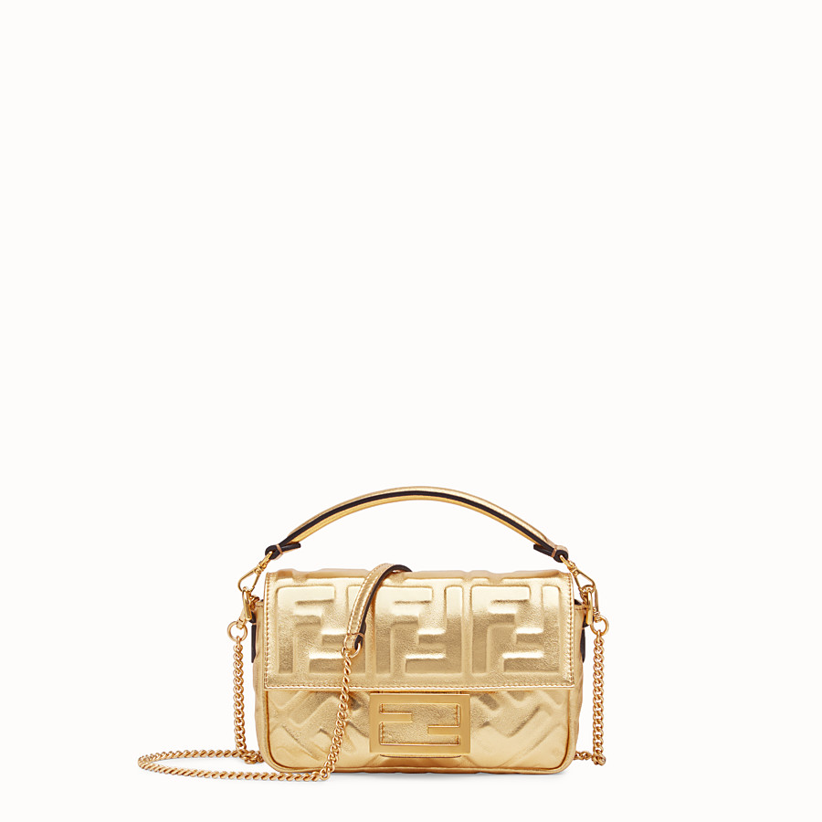 FENDI BAGUETTE MINI - Golden leather bag - view 1 detail