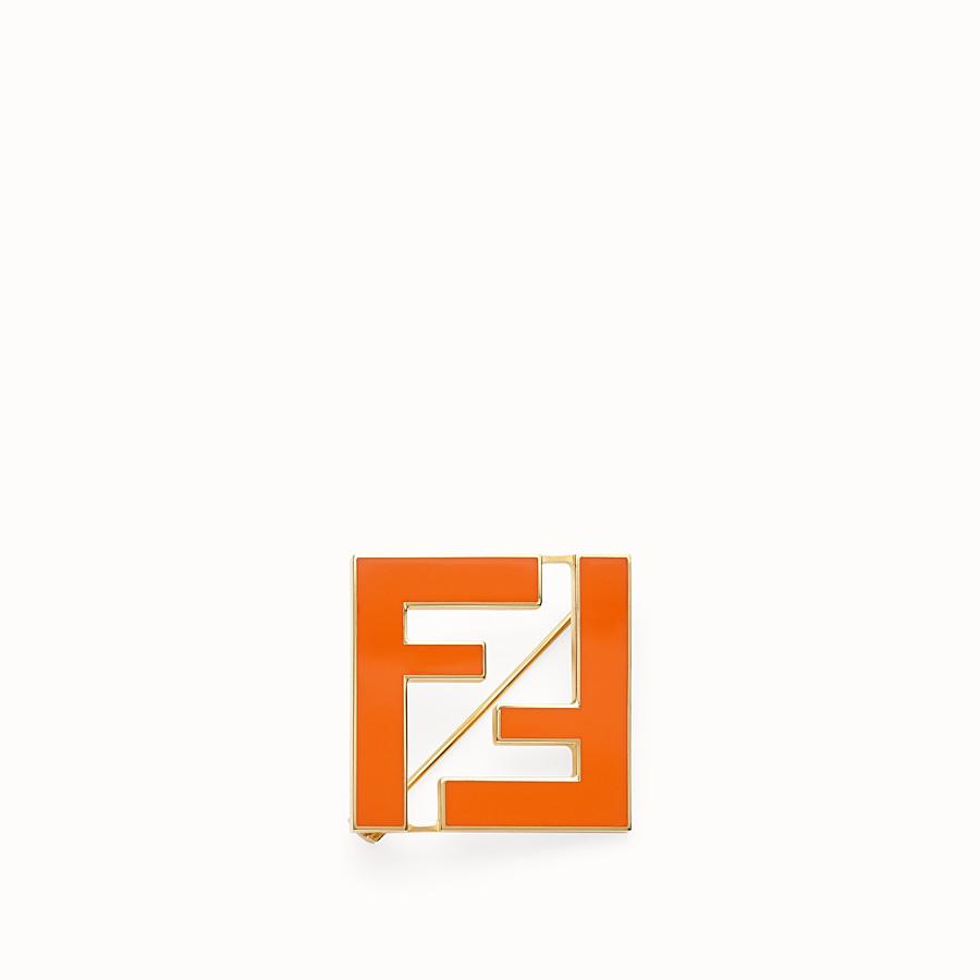 FENDI FF BROOCH - Orange metal brooch - view 1 detail