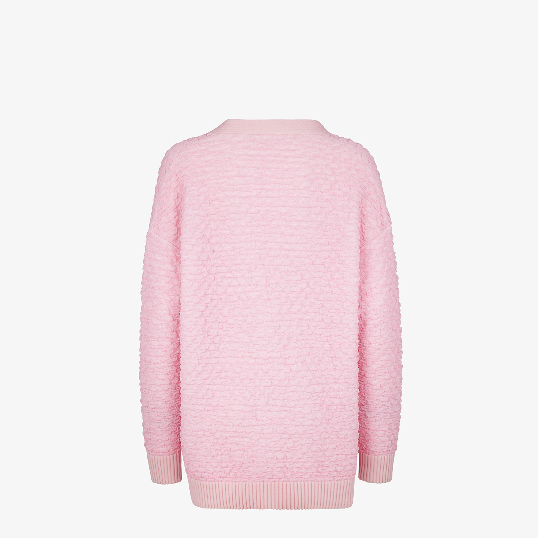 FENDI CARDIGAN - Pink embossed viscose cardigan - view 2 detail