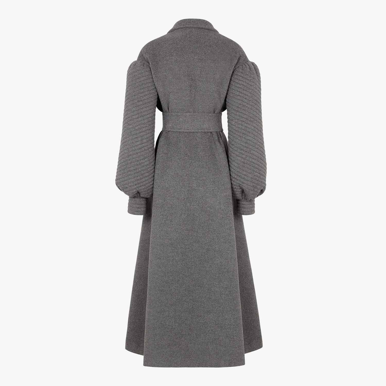 FENDI COAT - Gray double-sided cashmere coat - view 2 detail