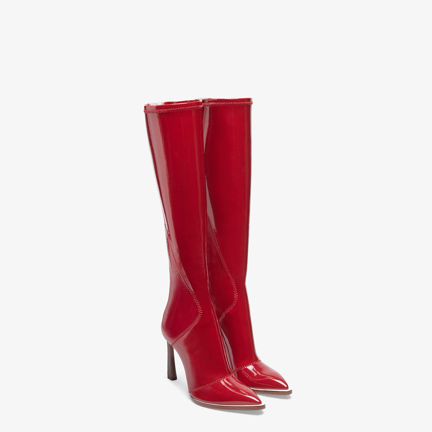 FENDI BOOTS - Glossy red neoprene boots - view 4 detail