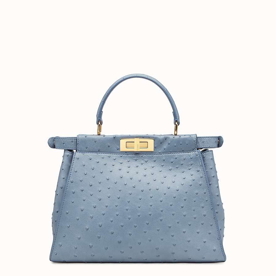 FENDI PEEKABOO REGULAR - Blue ostrich bag - view 3 detail