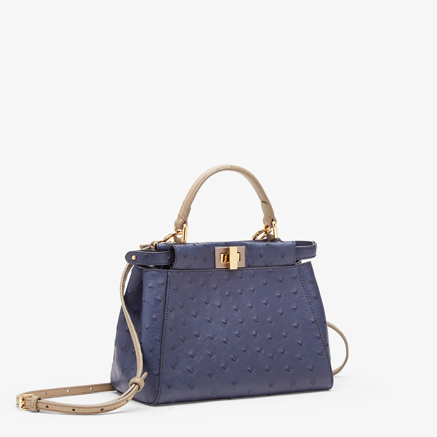 FENDI PEEKABOO ICONIC MINI - Blue ostrich bag - view 2 detail