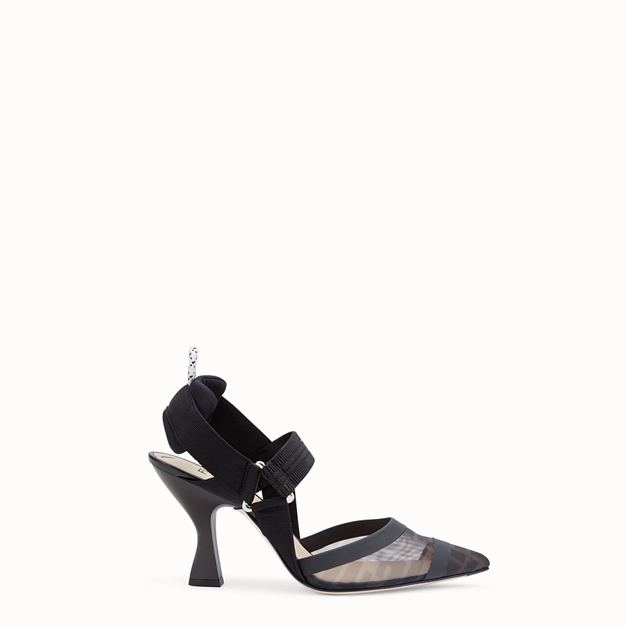 FENDI SLINGBACK - Colibrì in black leather and mesh - view 1 detail