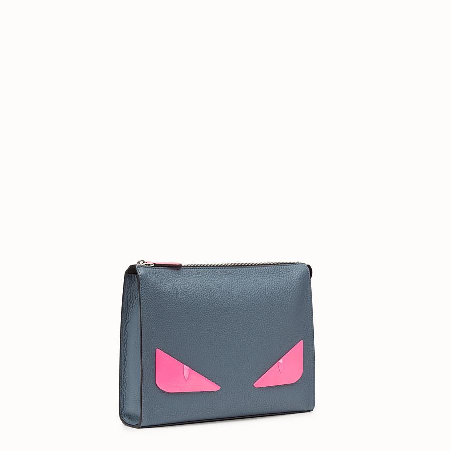 FENDI CLUTCH - Grey Romano leather pochette - view 2 detail