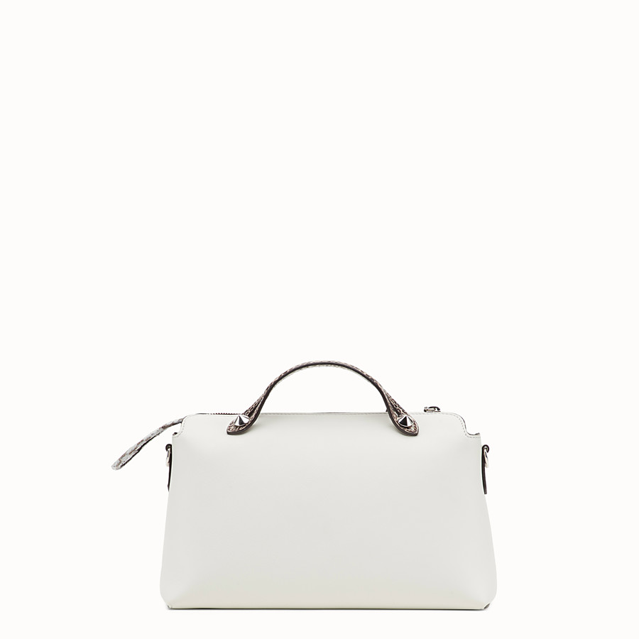 FENDI BY THE WAY REGULAR - White leather Boston bag with exotic details - view 3 detail