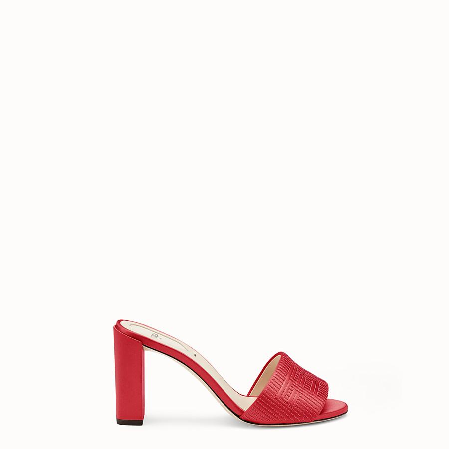 FENDI SABOTS - Red satin high sandals - view 1 detail