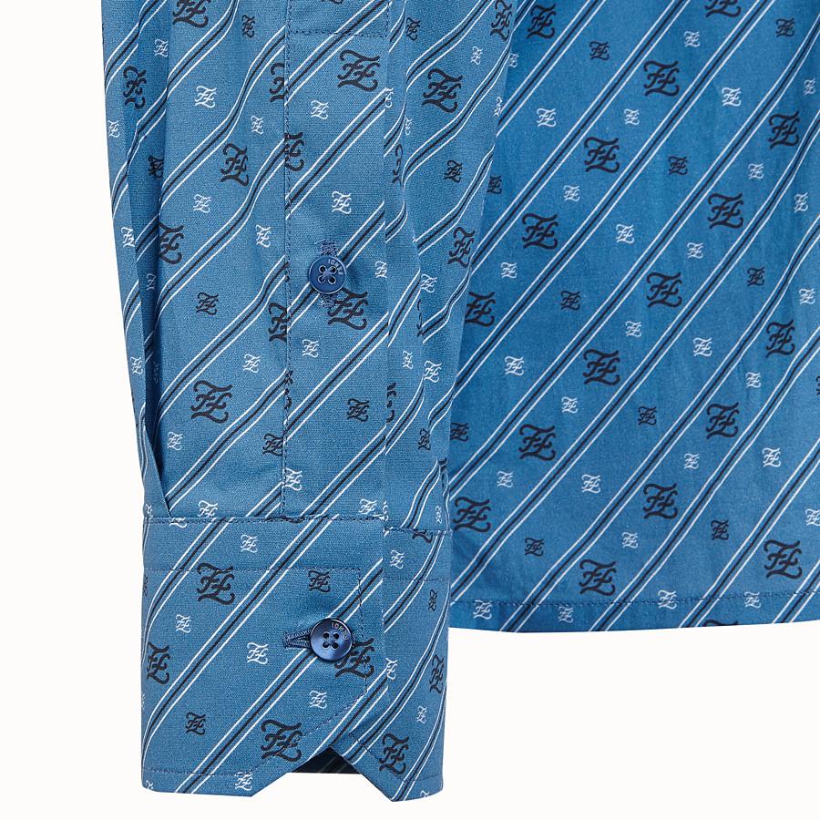 FENDI SHIRT - Blue cotton shirt - view 3 detail