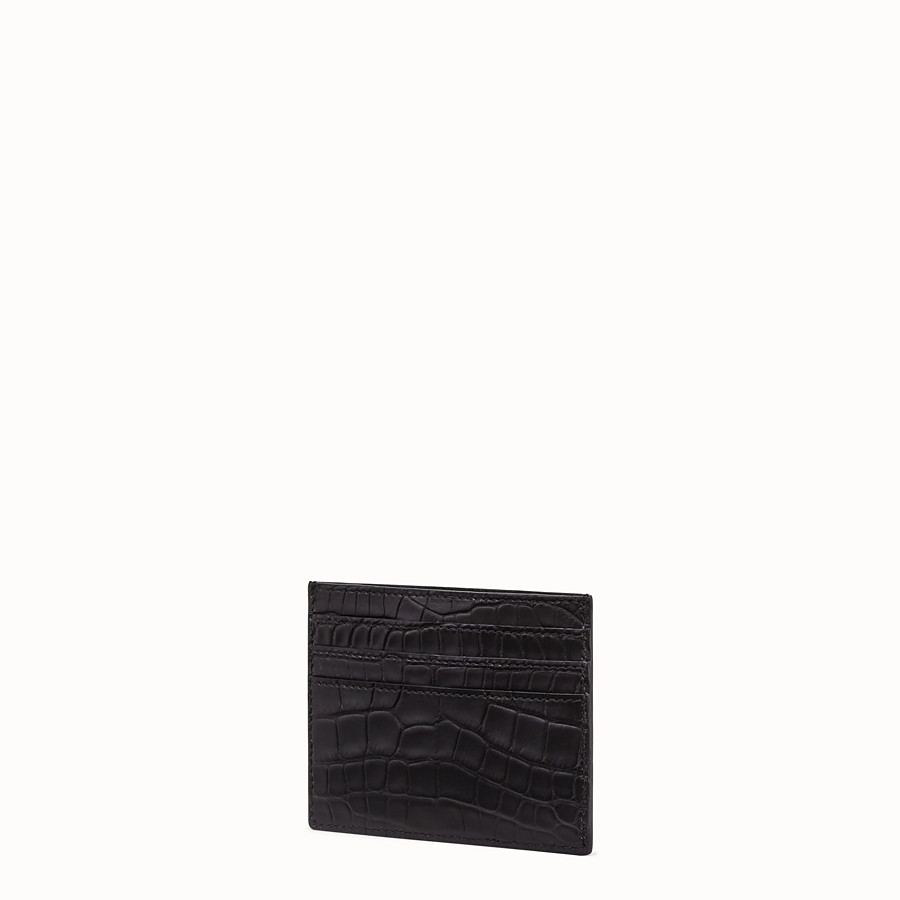 FENDI CARD HOLDER - Black alligator leather card holder - view 2 detail