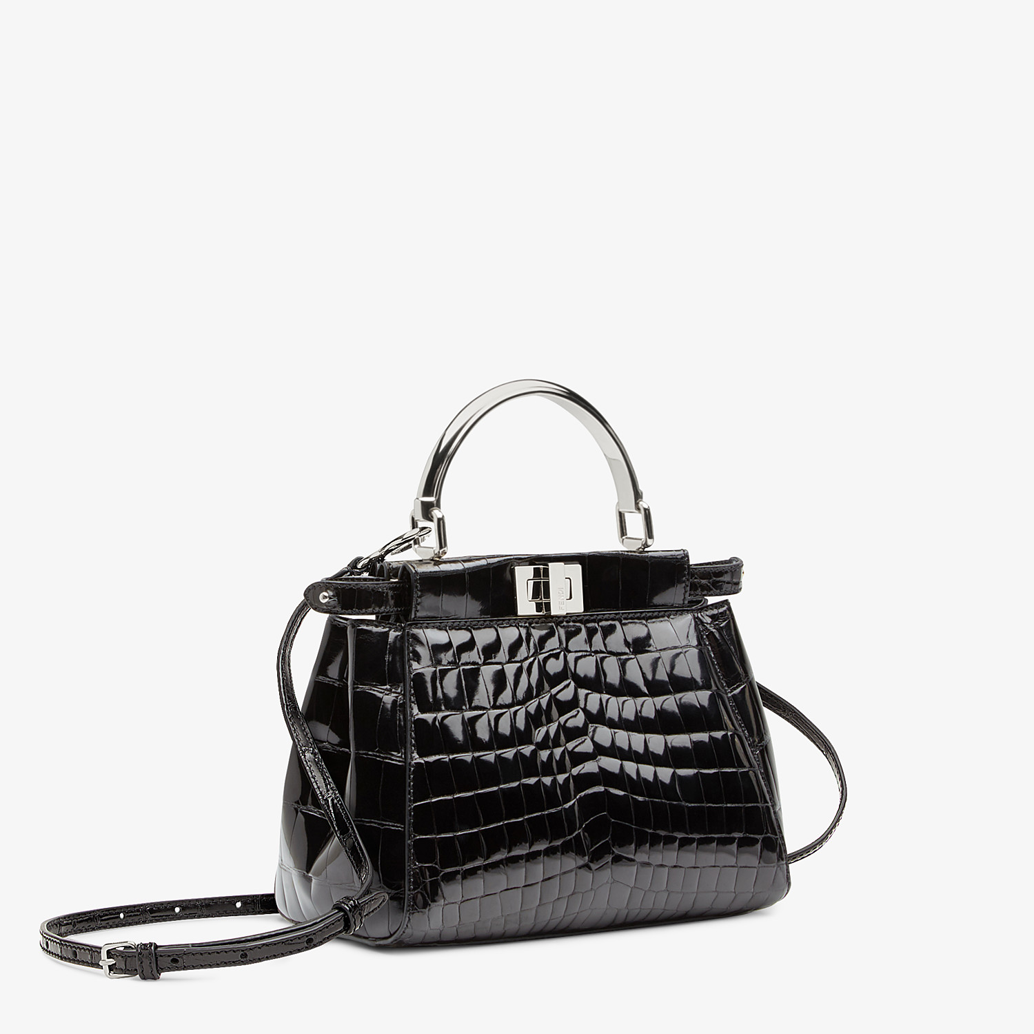 FENDI PEEKABOO ICONIC MINI - Black crocodile bag - view 2 detail