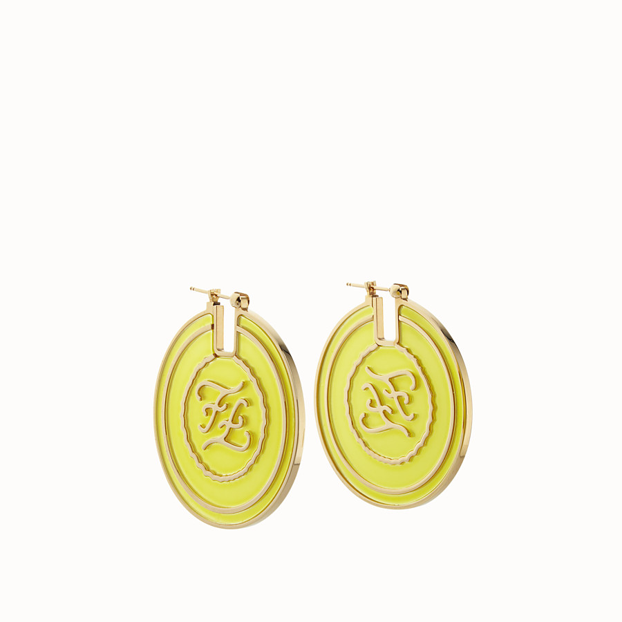 FENDI KARLIGRAPHY EARRINGS - Gold and yellow coloured earrings - view 1 detail