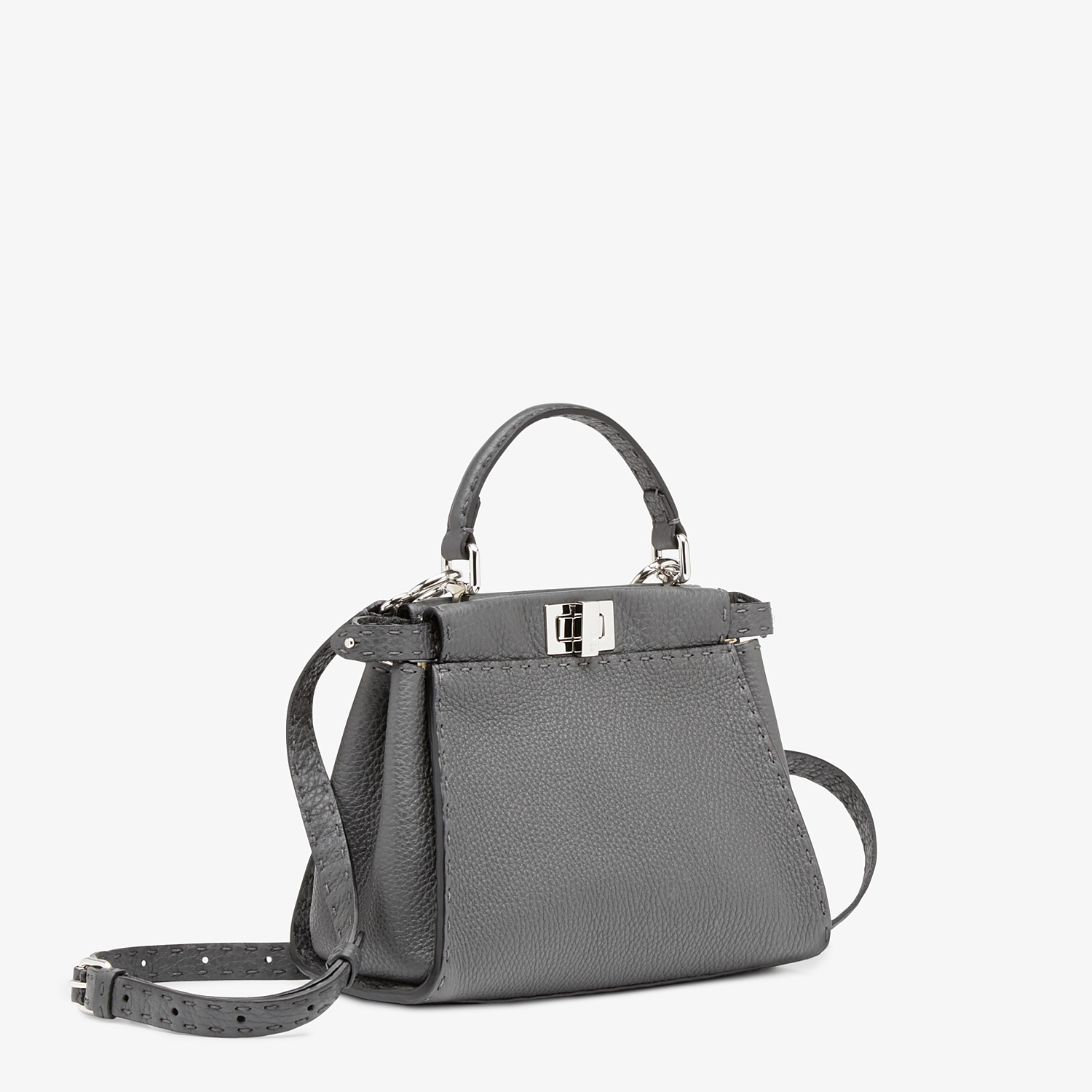 FENDI PEEKABOO ICONIC MINI - Asphalt gray Selleria bag - view 2 detail