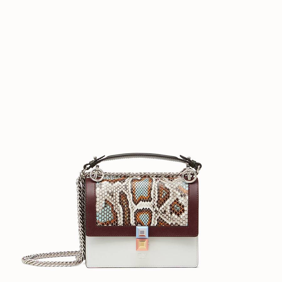 FENDI KAN I SMALL - Python and white leather mini bag - view 1 detail