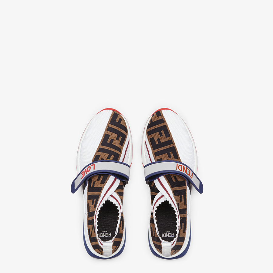 FENDI SNEAKERS - White fabric sneakers - view 4 detail