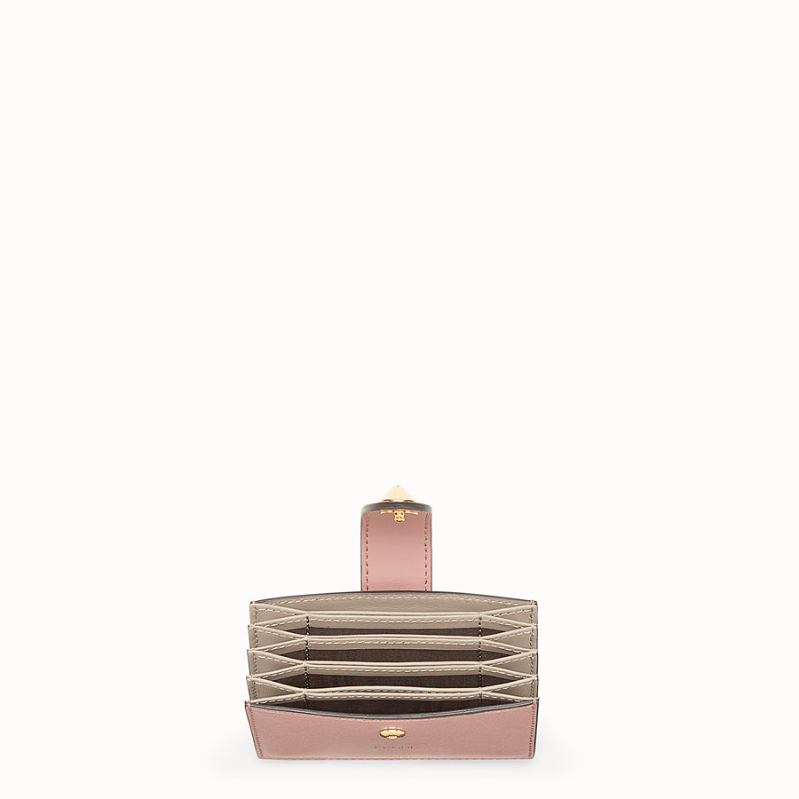 FENDI CARD HOLDER - Pink leather gusseted card holder - view 4 detail